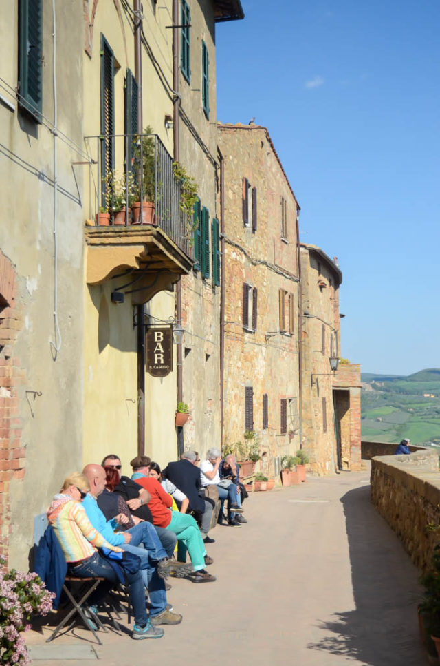 The hillsides of Montepulciano in Tuscany, overlooking the vast countryside.