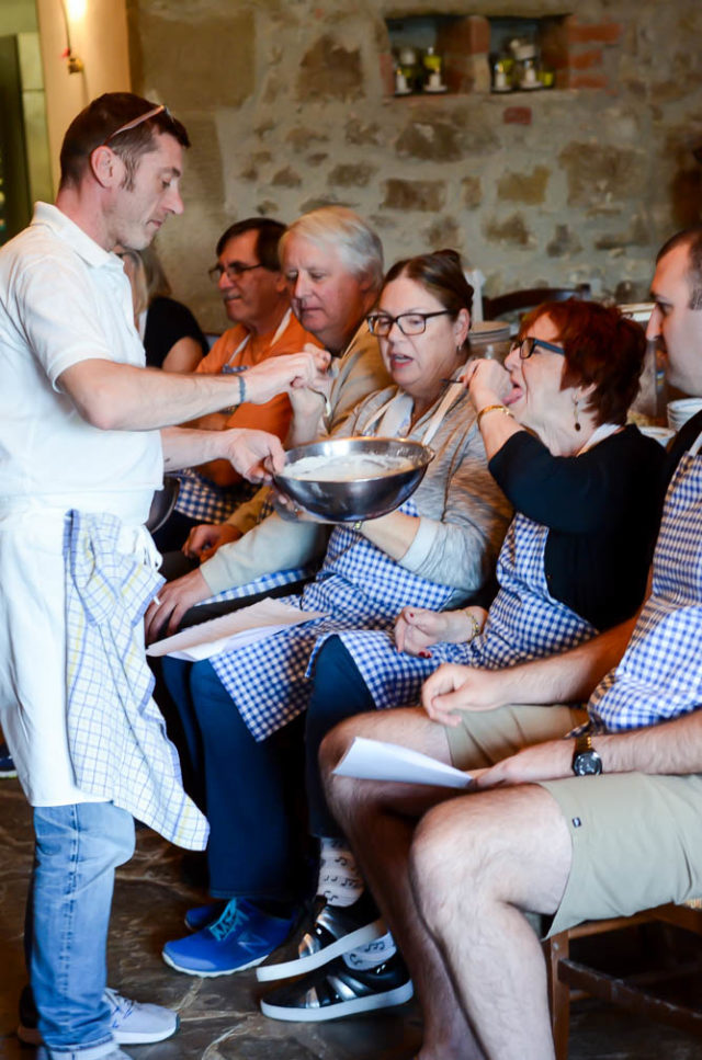 Learning how to make authentic Tuscan food at our cooking class at Villa Fabbroni.