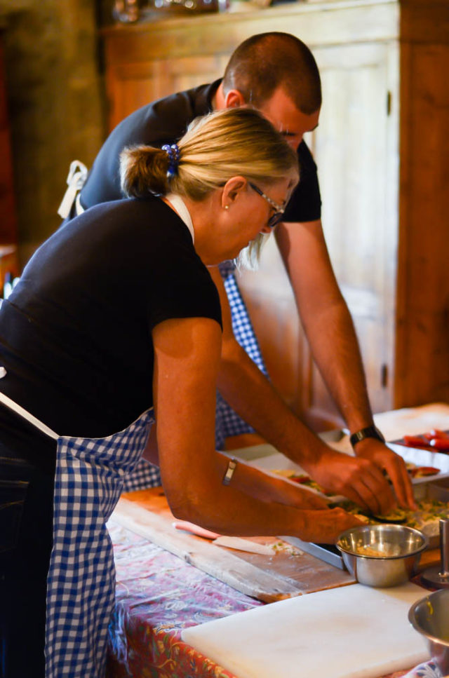 Hands-on at our Italian cooking class, learning how to make some classic Tuscan antipasti at Villa Fabbroni!