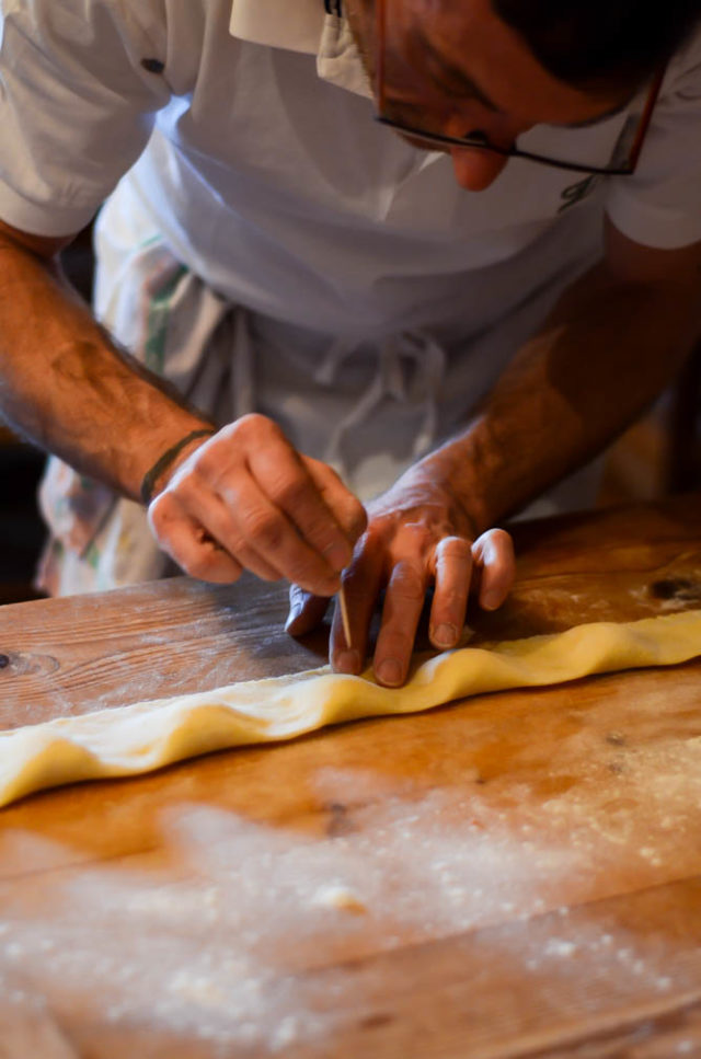 Making hand-rolled ravioli during our cooking class at Villa Fabbroni.