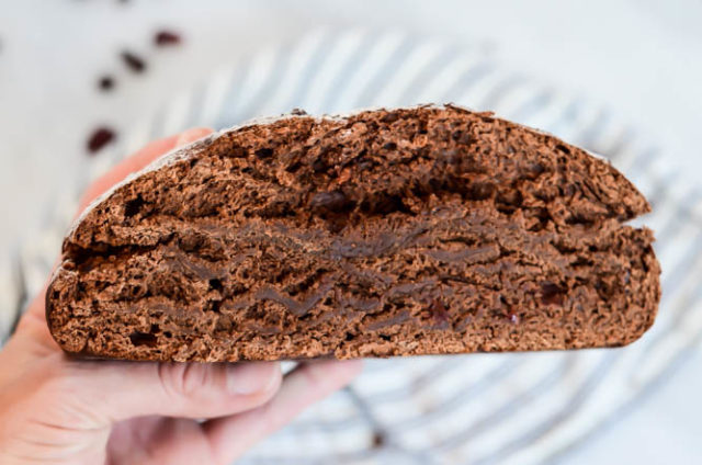 This recipe for Chocolate Cherry Bread offers a dense loaf studded with chocolate chips and dried cherries.