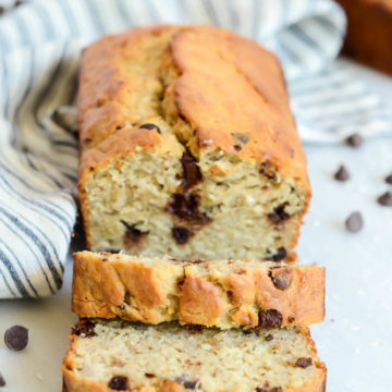 Freshly cut slices of Coconut Chocolate Chip Banana Bread.