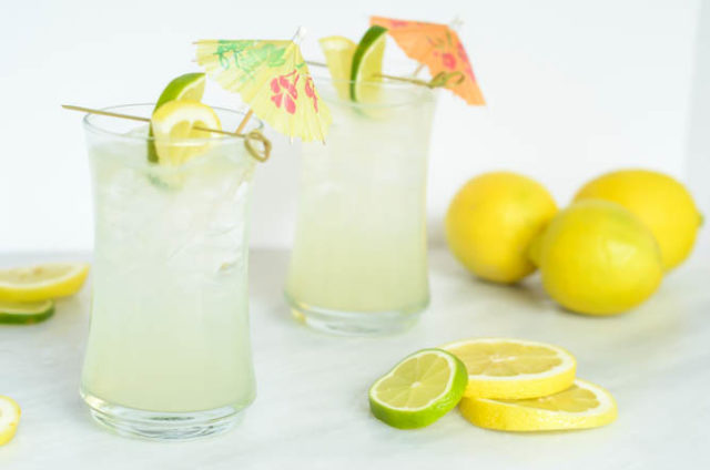 This Hydrating Citrus Coconut refresher is nonalcoholic, but can easily be made into a cocktail with the addition of vodka or gin!