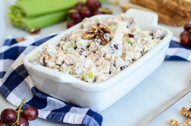A big dish of Protein-Packed Healthy Chicken Waldorf Salad is the perfect no-cook addition to any barbecue or picnic!