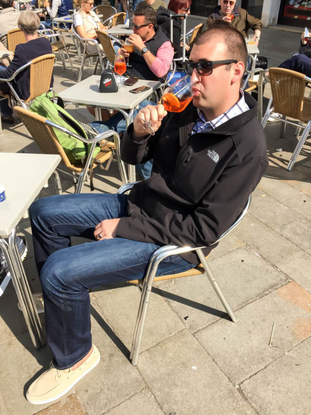 The hubby enjoying a Venetian spritz, the classic aperitif of Venice!
