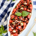 A big bowl of refreshing Watermelon Caprese Salad with Prosciutto. The perfect summer salad!