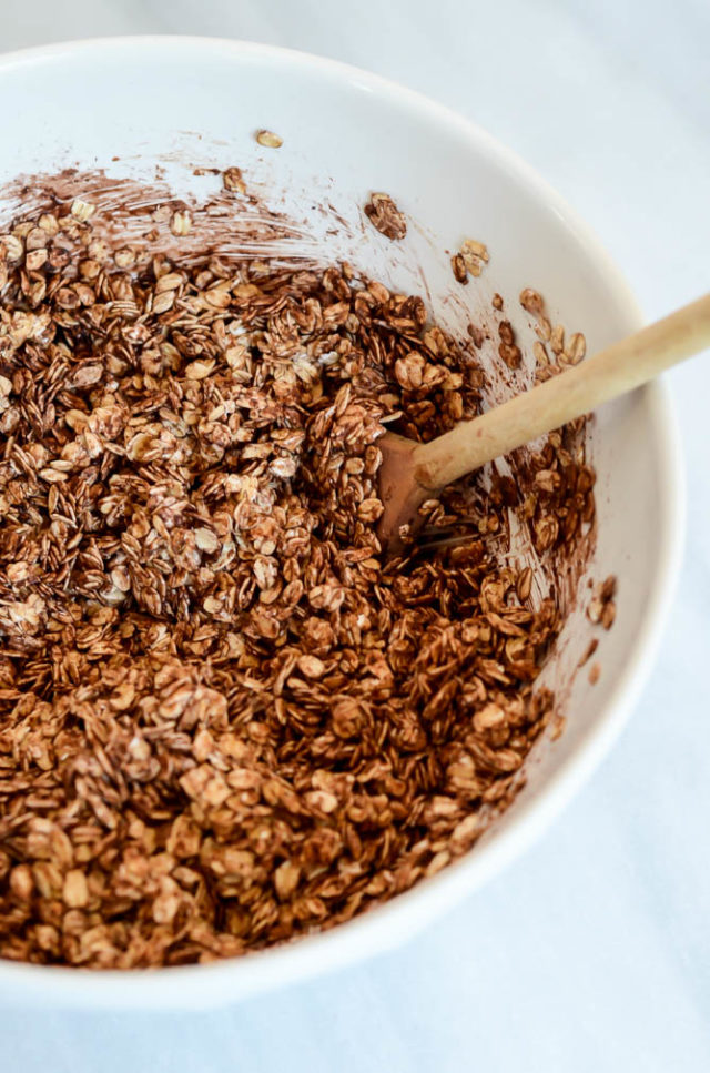 Mixing up a big batch of Dark Chocolate Coconut Granola.