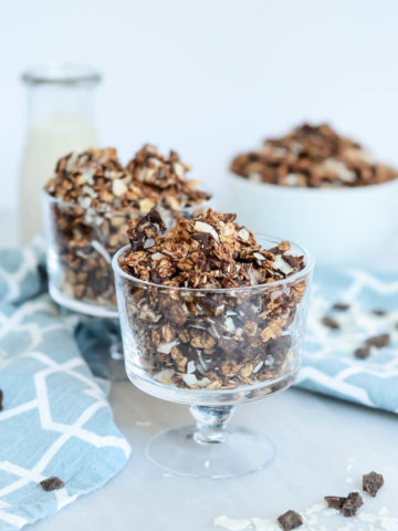 A large batch of Dark Chocolate Coconut Granola is all you need for snack time cravings or the perfect breakfast.