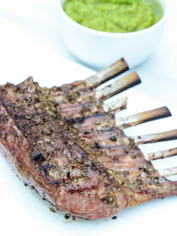 A beautiful Herb Crusted Rack of Lamb served with Fresh Mint Pea Pesto.