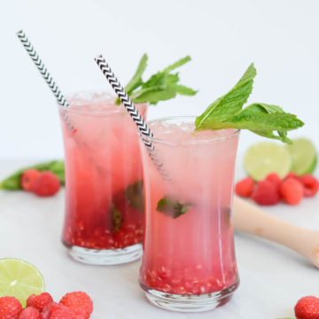 This Fresh Raspberry Mint Limeade is the perfect thirst-quencher for summer! Add vodka for a boozy twist.