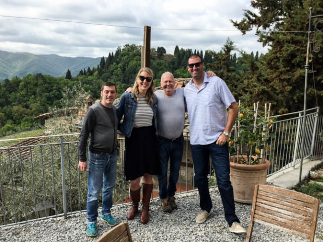 The hubby and I with our gracious hosts, Sergio and Stefano, at Villa Fabbroni in April of 2017.