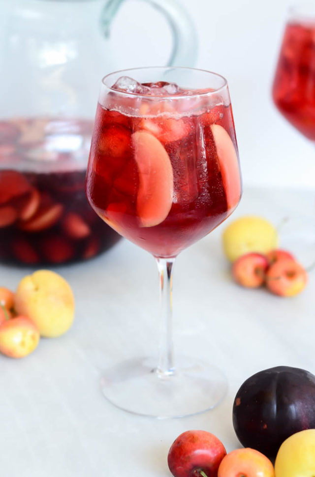 A tall, refreshing glass of Virgin Stone Fruit Sangria.