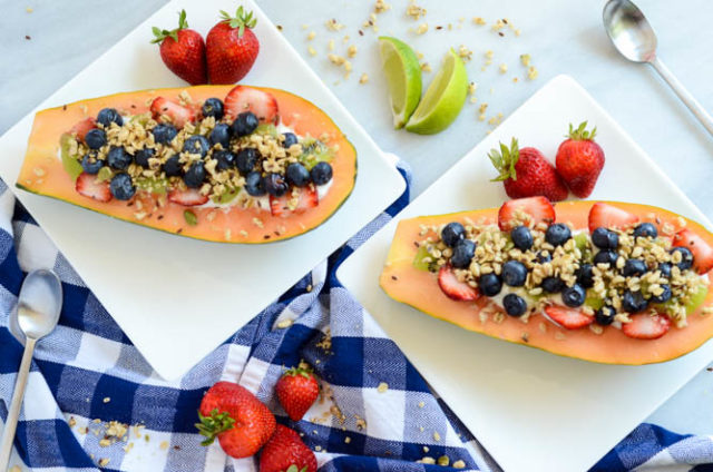Back-to-School Papaya Breakfast Boats are the perfect healthy, kid-friendly, weekday breakfast for kids and adults alike!