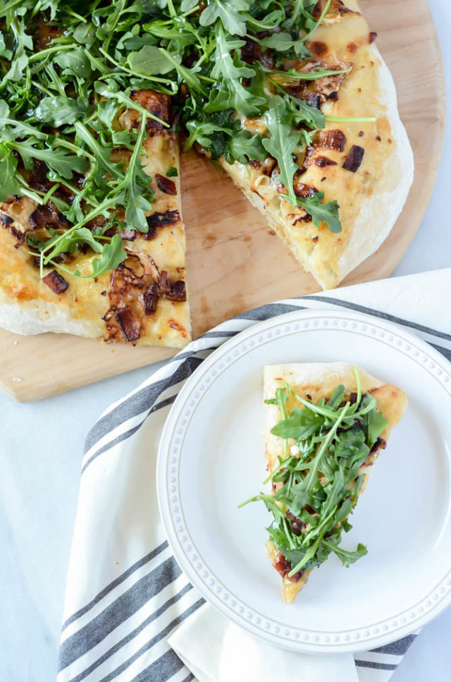 This Bacon and Goat Brie Pizza with Vanilla Passion Fruit Jam is the perfect lunch or dinner for any day of the week!