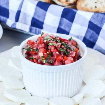 Classic Tomato Bruschetta with Mozzarella | CaliGirlCooking.com