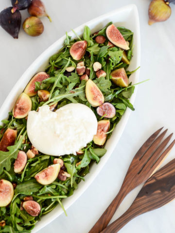 A big bowl of in-season Fresh Fig and Burrata Salad with Toasted Hazelnuts is the perfect summer meal or side dish!