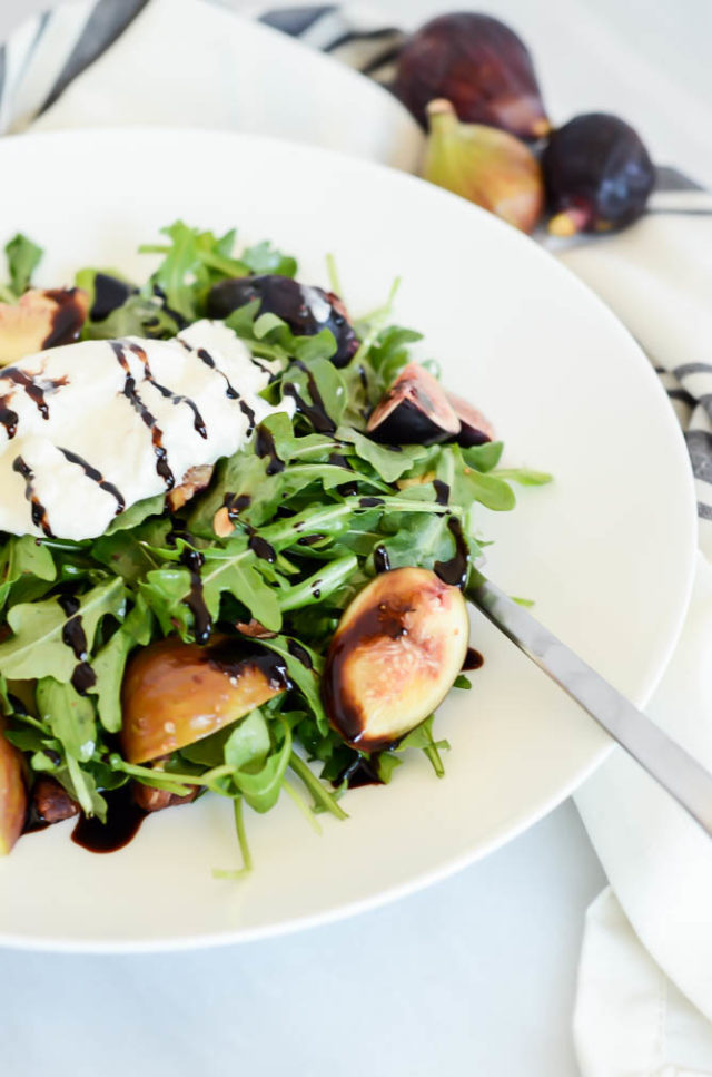 Fresh Fig and Burrata Salad with Toasted Hazelnuts is the perfect light summer meal.