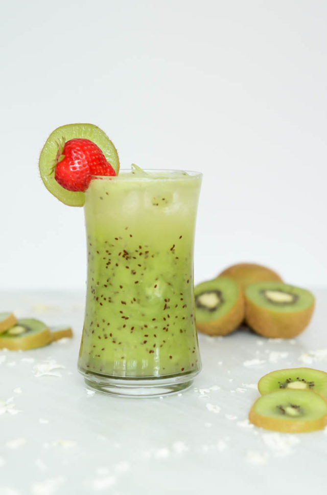 A Kiwi Coconut Cooler is the perfect special, healthy drink for any night of the week.