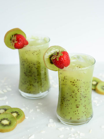 This Kiwi Coconut Cooler is the perfect, refreshing mocktail with a fun hit of color!