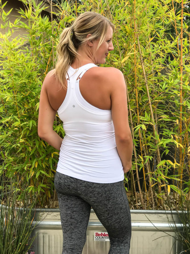 White Cool Racerback Tank from Lululemon, workout leggings from Old Navy.