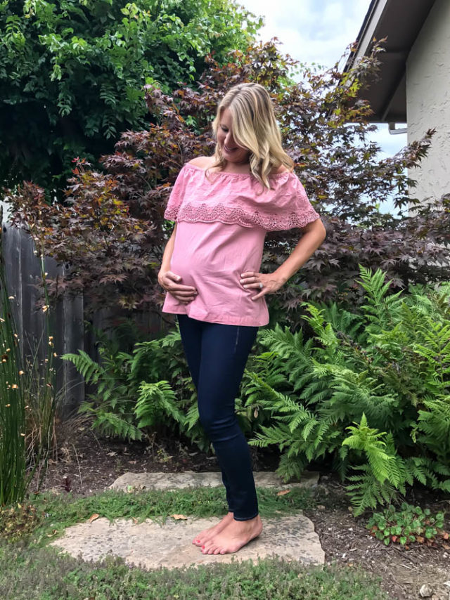 Dusty pink off-the-shoulder top from Ingrid & Isabel, jeans from Old Navy.