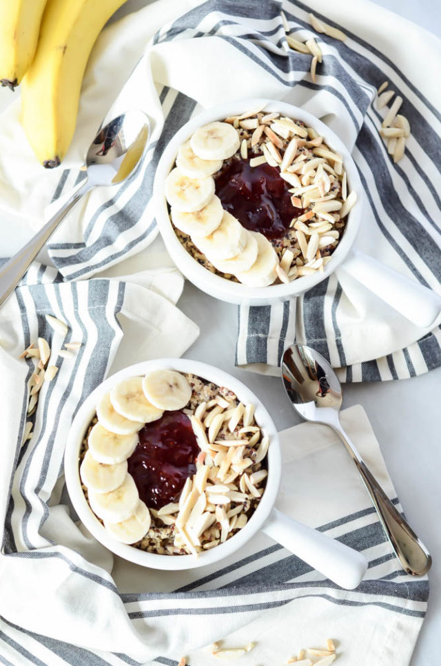 Two PB&J Quinoa Bowls ready to be enjoyed on any weekday or weekend morning!