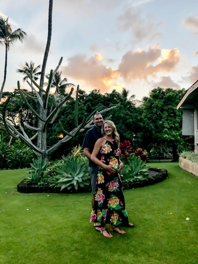 One of the only couple photos we got in real clothes and not bathing suits! Plantation Garden Restaurant, Poipu, Kauai