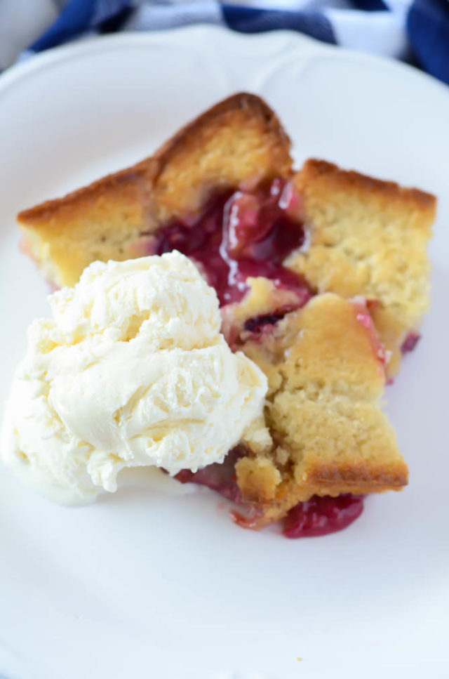A serving of this Upside Down Pluot Cobbler will turn any week around!