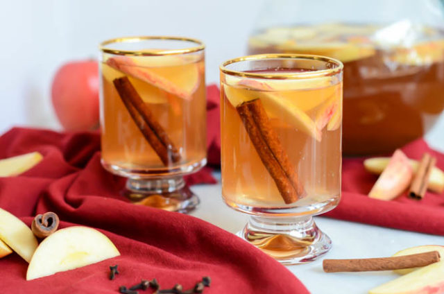 Delicious From-Scratch Slow Cooker Spiced Apple Cider ready to be consumed with or without bourbon.