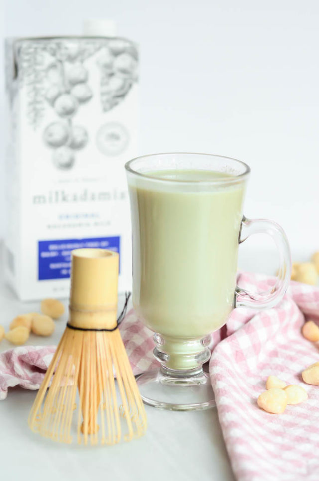 Whip up this easy Matcha Macadamia Latte with macadamia nut milk, matcha powder and a matcha whisk!