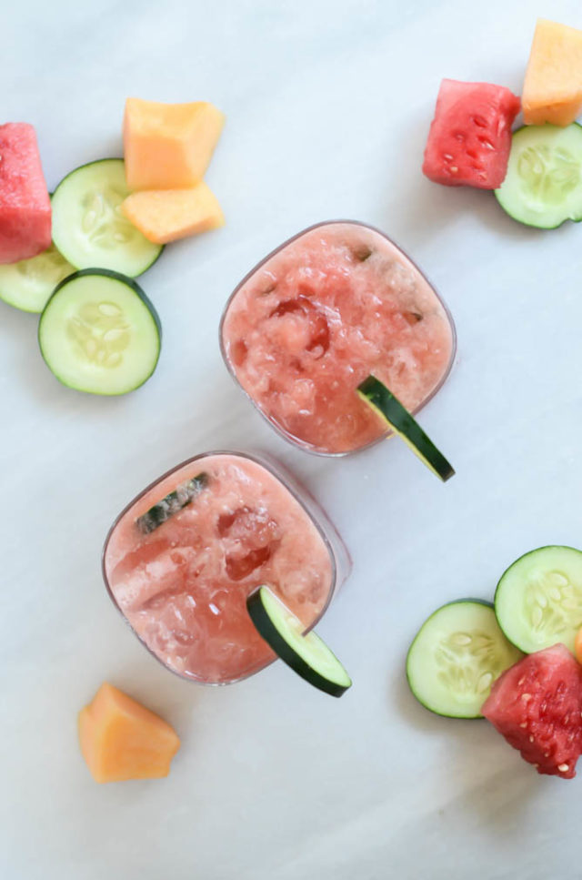 An overhead shot of super refreshing Mixed Melon Cucumber Coolers. Perfect for the end of summer!