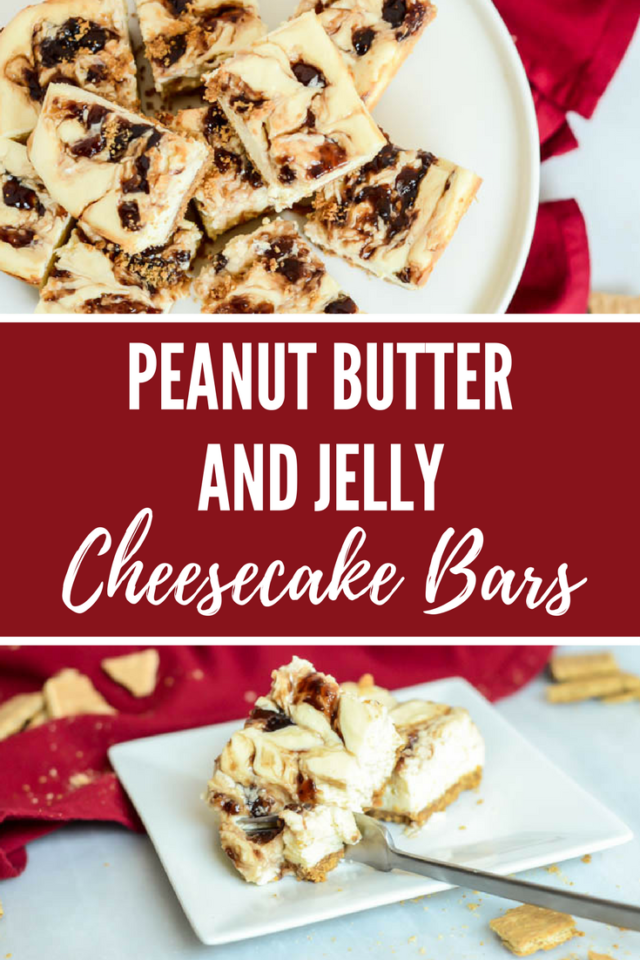 Peanut Butter and Jelly Cheesecake Bars | CaliGirlCooking.com