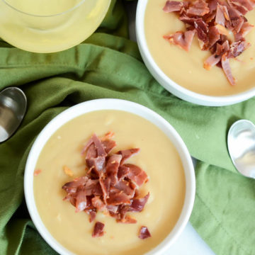 A couple of bowls of Super Easy Caramelized Onion and Potato Soup make the perfect dinner for cooler weather.