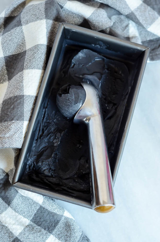 A batch of Activated Charcoal Ice Cream is the perfect treat to whip up for Halloween!