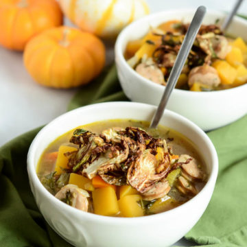 "Butternut Squash and Sausage ""Stoup"" with Crispy Brussels Sprouts is the perfect healthy, hearty weeknight fall meal."