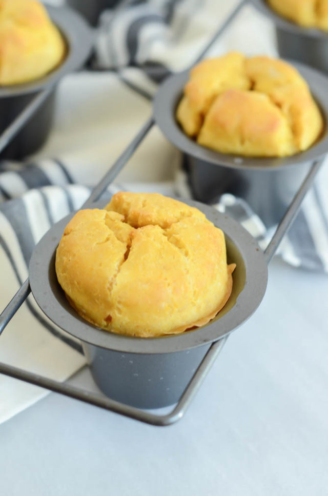 These Pumpkin Popovers rise above the top of the pan and are delicious served fresh out of the oven.