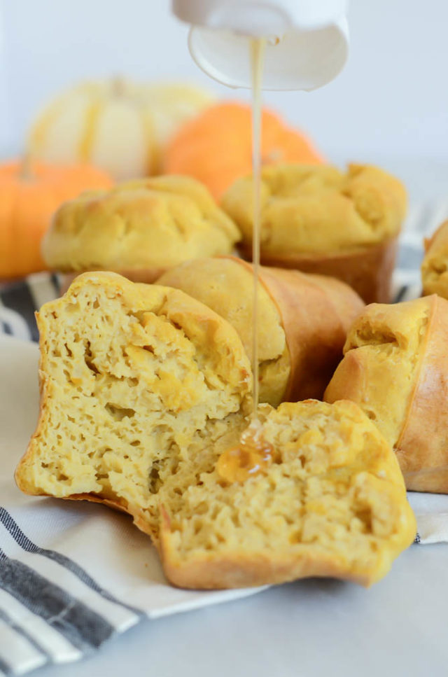 A drizzle of honey is the perfect addition to fresh-baked Pumpkin Popovers.