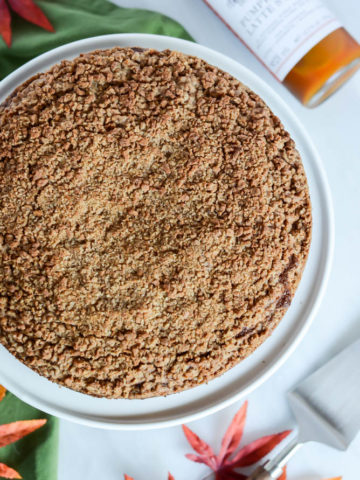 A delicious Pumpkin Spice Coffee Cake with Amaretti Crumble is the perfect baked good for fall.