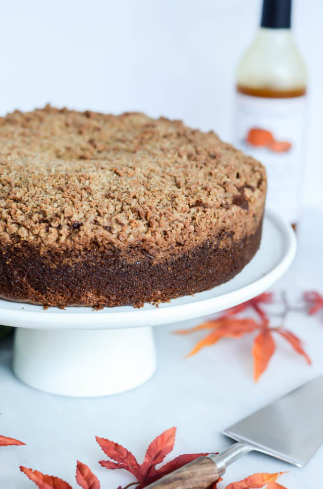 This Pumpkin Spice Coffee Cake with Amaretti Crumble is incredibly moist and dense from multiple forms of pumpkin added to the batter.