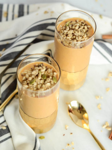 The Ultimate Pumpkin Pie Smoothie is filled with tons of healthy ingredients yet tastes just like dessert!