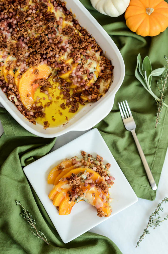 Herbed Butternut Squash Gratin with Amaretti Crumble is a tasty side dish for fall that even picky eaters will love.