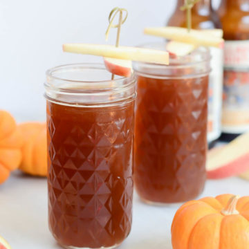 This Two-Ingredient Pumpkin Apple Shandy is the most delicious, easy fall cocktail!