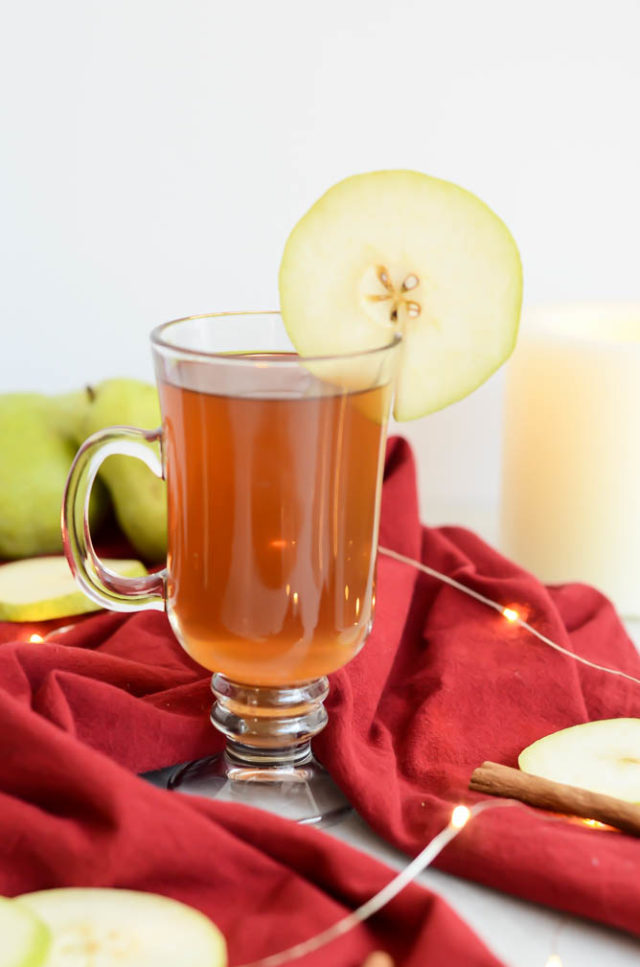 A mug of Spiked Pear Cider is the perfect hot toddy for the holidays.
