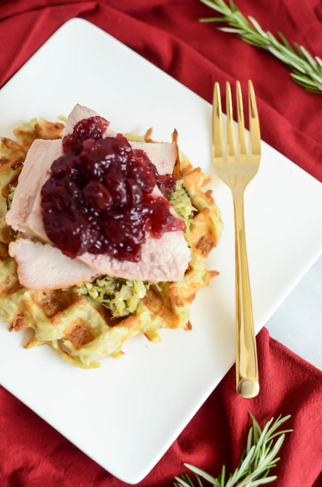 Serve up The Ultimate Turkey Day Leftover Waffles as an easy breakfast the next day!