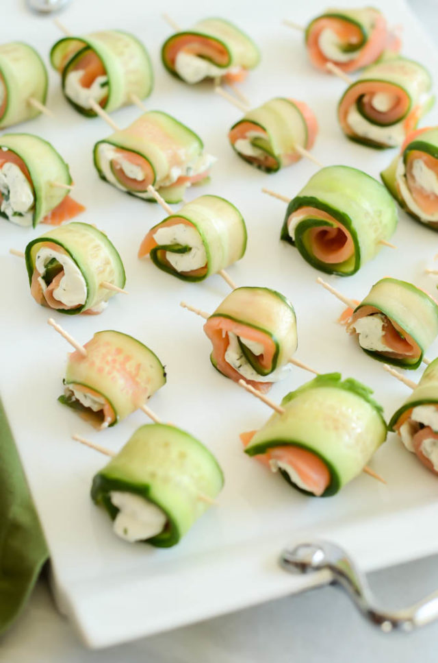 Five-Ingredient Smoked Salmon and Cucumber Roll-Ups are an easy, healthy appetizer for any get-together.
