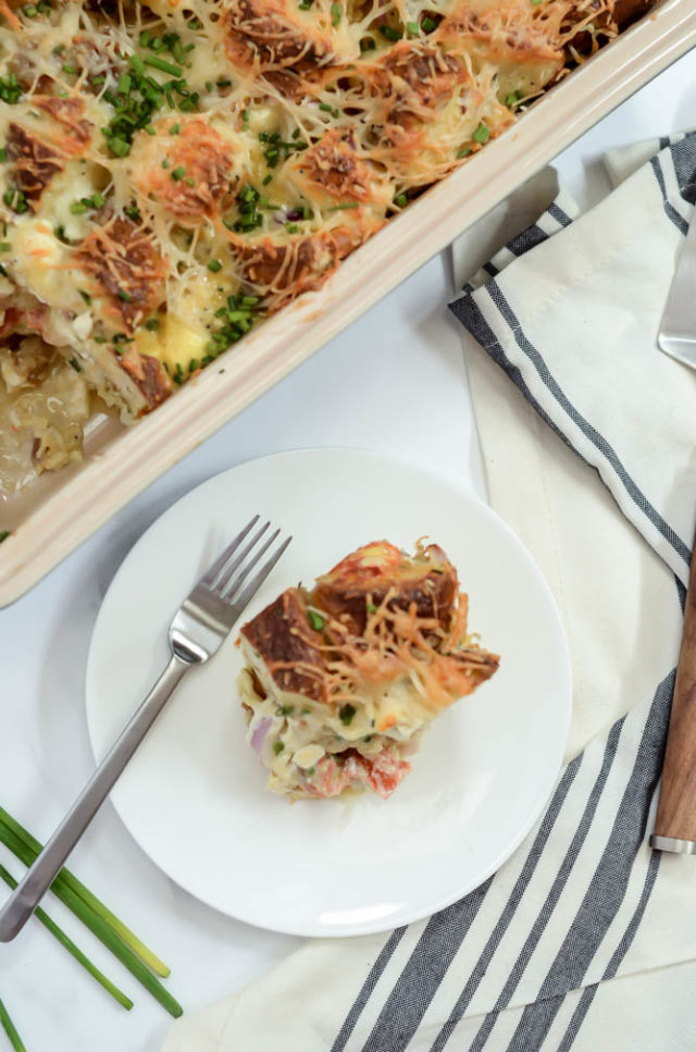 One little piece of this Indulgent Smoked Salmon and Bagel Breakfast Casserole is all you need at brunch to start your day off on the right foot!