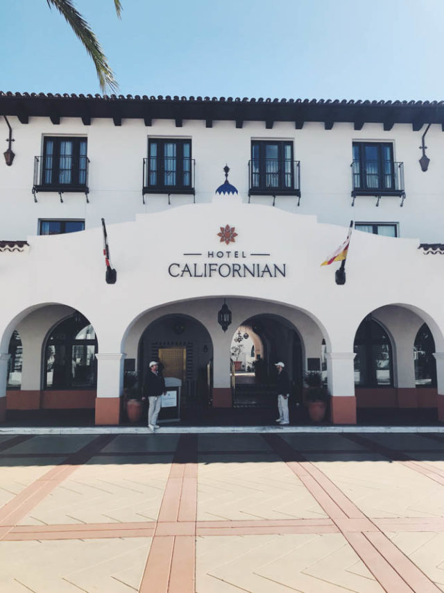 Front entrance of the Hotel Californian in Santa Barbara, CA.
