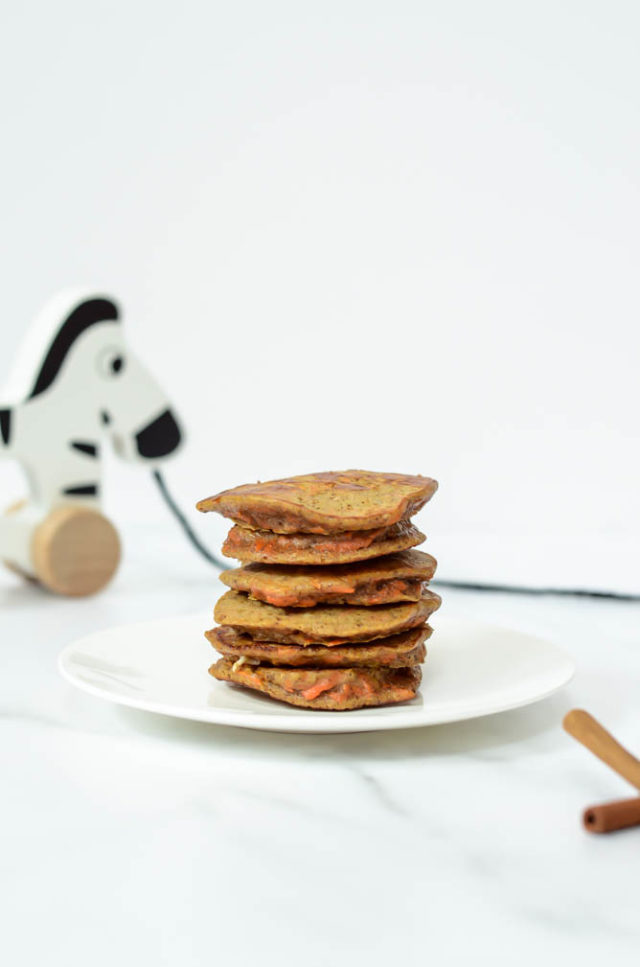 These Healthy Carrot Cake Pancakes are easy to make and perfect for baby-led weaning. They're freezer friendly and super healthy!