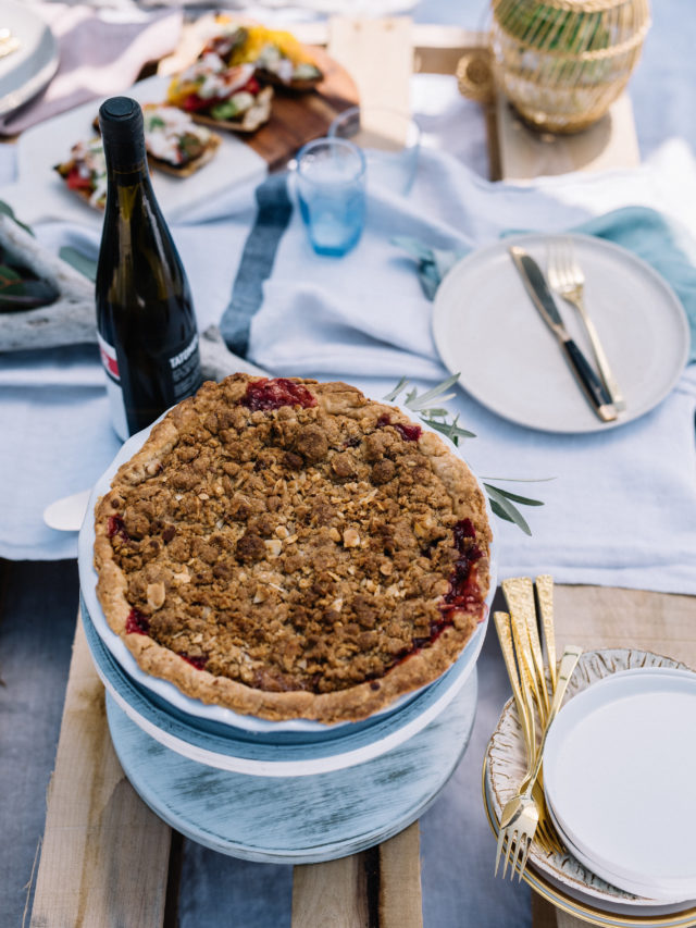 A fun and fresh Strawberry Rhubarb Pie with a flaky amaretto crust. The perfect summer dessert!