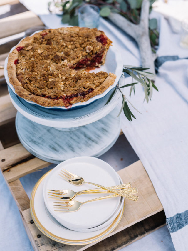 This Strawberry Rhubarb Pie with Amaretto Crust is the perfect dessert recipe for any beach picnic, BBQ or fancy dinner party!
